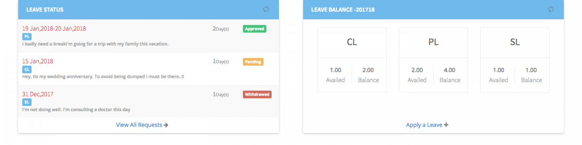 Leave Management in Payroll Software - Employee Dashboard